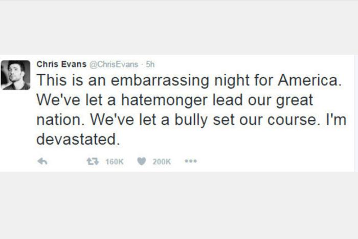 """Chris Evans, o Capitão América do cinema, lamentou fortemente a vitória de Trump: """"Esta é uma noite vergonhosa para a América. Deixamos um semeador da discórdia comandar nossa grande nação. Deixamos um agressor determinar nosso caminho. Estou arrasado"""""""