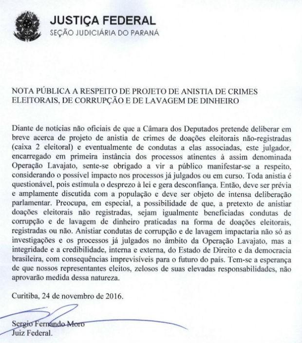Moro divulga nota sobre votação do pacote anticorrupção (Foto: Reprodução)