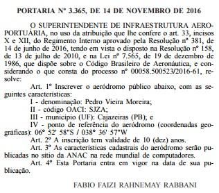 Diário Oficial da União, 17 de novembro, a homologação do aeroporto de Cajazeiras (Foto: reprodução)