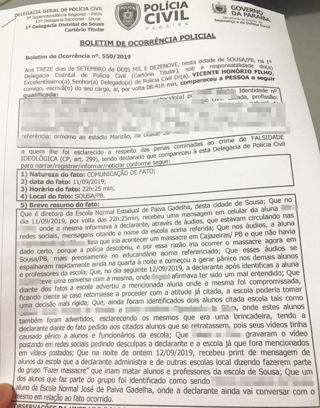 boletim ocorrencia maassacre 646x825 - MASSACRE EM ESCOLA DE SOUSA: Polícia identifica autores de mensagens que planejavam chacina de alunos e professores