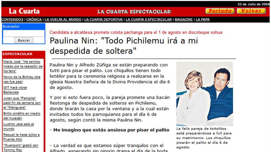 La candidatura a alcaldesa de Pichilemu de la presentadora de televisión Paulina Nin de Cardona Muñoz, en 2004, fue la más mediática.