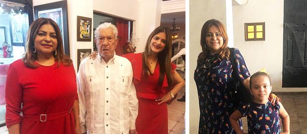 Bélgica Suárez junto a su padre e hija. Del otro lado posa con su nieta Monserrat.