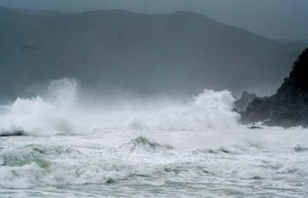 """los efectos del tifón Neoguri (""""mapache"""" en coreano) se hacían notar mucho en todo el suroeste (Kyushu, Shikoku y la punta de Honshu) AGENCIAS"""