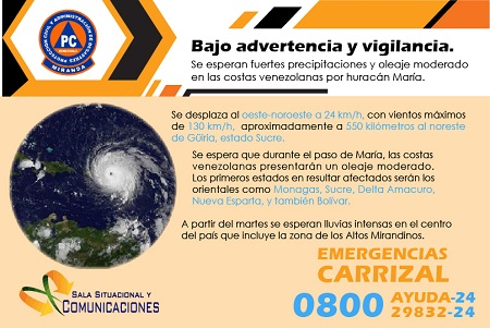 Se esperan fuertes precipitaciones y oleaje moderado en las costas venezolanas.