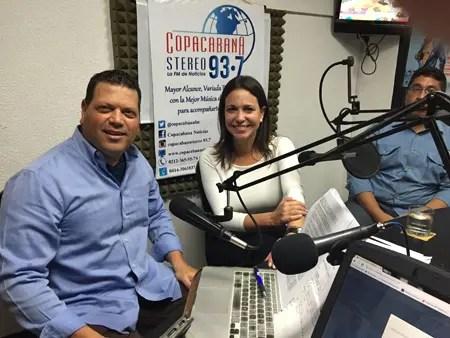 """María Corina Machado, dijo en el programa de Emilio Materán que """"Venezuela cambia en cien días cuando salga el régimen""""."""