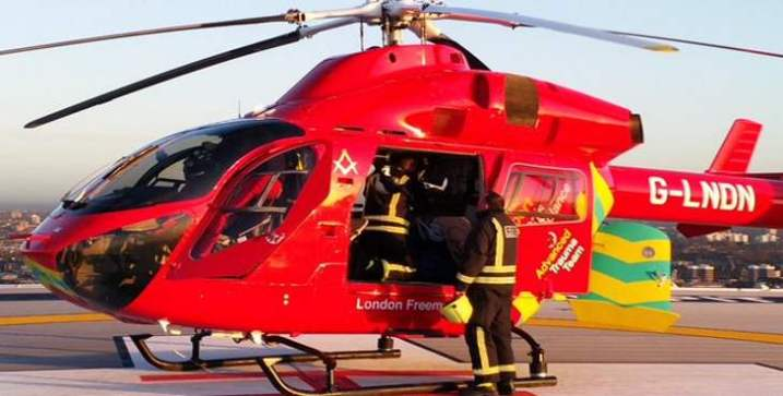 Escuadra y compás en la ambulancia aérea de Londres