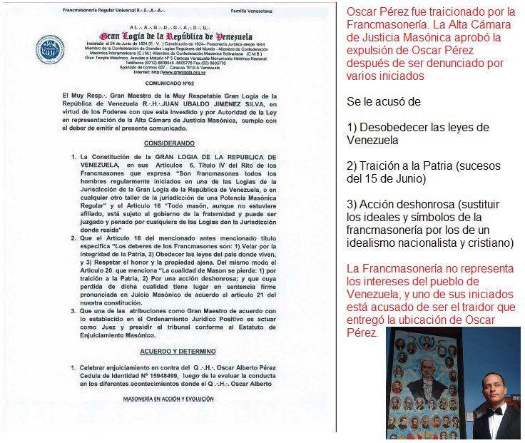 causa masónica contra óscar pérez gran logia de venezuela