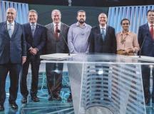 Meirelles, Dias, Ciro, Boulos, Alckmin, Marina e Haddad, durante debate na TV Globo. Foto: Eduardo Anizelli/ Folhapress