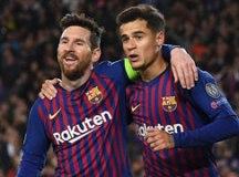 Messi comemora com Coutinho um dos gols do Barcelona. Foto: Reprodução/FC Barcelona