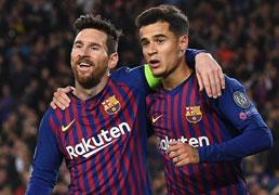 Com dois gols de Messi, Barcelona goleia Lyon e vai às quartas na Liga dos Campeões