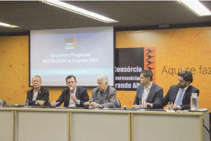 Nishikawa, Morando, Brandão, Evandro Banzato e Giovanni Rocco, durante evento no Consórcio. Foto: Divulgação