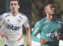 Pablo tem sofrido com lesões, enquanto Borja não conseguiu se firmar como titular. Fotos: Rubens Chiri/SPFC e Cesar Greco/Agência Palmeiras