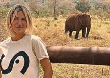 Giovanna Ewbank visita santuário de elefantes e critica caça, zoológicos e circos