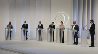 Os 11 participantes tentaram se apresentar aos eleitores e marcar posição em relação aos competidores, por meio de ataques e suas principais propostas. Foto: Felipe Araujo/Fotos Públicas