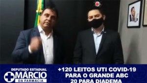 Márcio da Farmácia (Podemos) divulgou vídeo nas redes sociais ao lado de Vinholi agradecendo a liberação de mais 120 leitos de UTI para covid.Foto: Reprodução Facebook