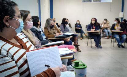 Orientadoras Educacionais e Coordenadores Pedagógicos do Infantil ao Fundamental II discutiram ações de acolhimento. Foto: Divulgação/PMETRP