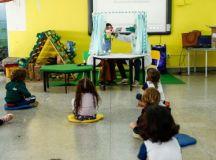 Os pequenos da EMEI Emílio Carlos participaram de atividades lúdicas como teatro de fantoches e um filme publicitário informando sobre a importância da escovação. Crédito: Eric Romero/PMSCS