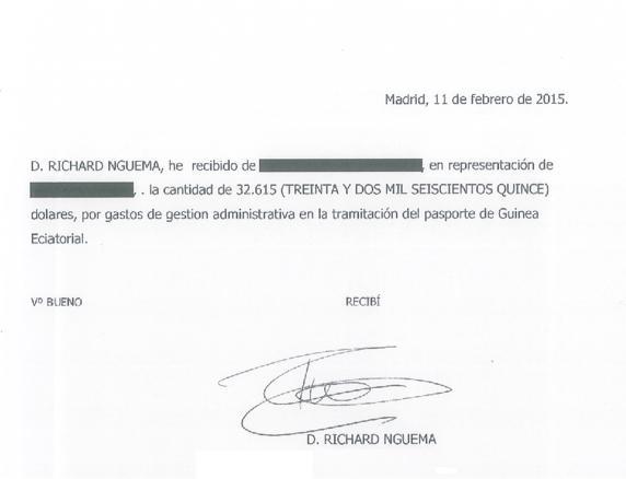 Recibí firmado por Nguema a Slaughter por el pago de los servicios (ENCESTANDO.ES)