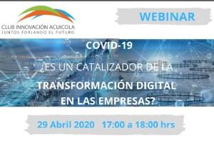 Club de la Innovación Acuícola realizará webinar sobre Covid-19 como un posible catalizador de la Transformación Digital en las empresas