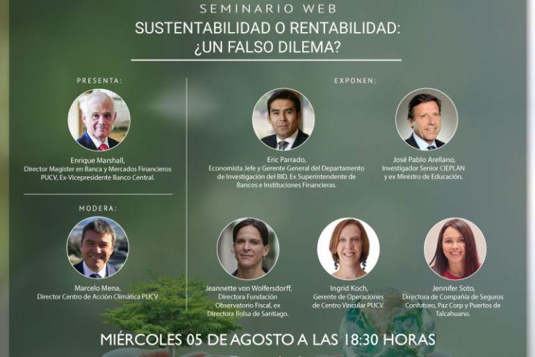 Centro de Acción Climática PUCV organizará seminario web: sustentabilidad o rentabilidad: ¿un falso dilema?