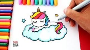 aprende_a_dibujar_un_unicornio_arcoiris_sobre_una_nube_estilo_kawaii__kidsletsdraw