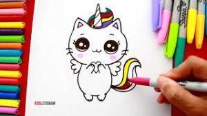 Dibujos kawaii de unicornio para dibujar