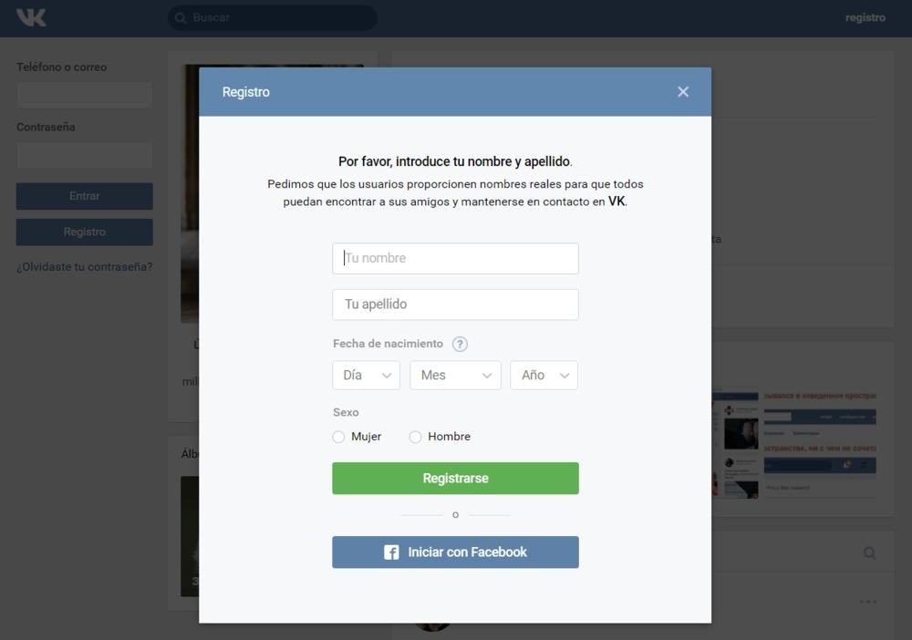 Vk.com Registro