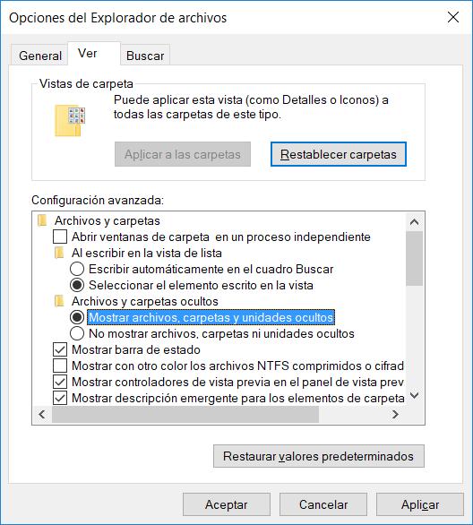 Ver archivos ocultos en Windows 10