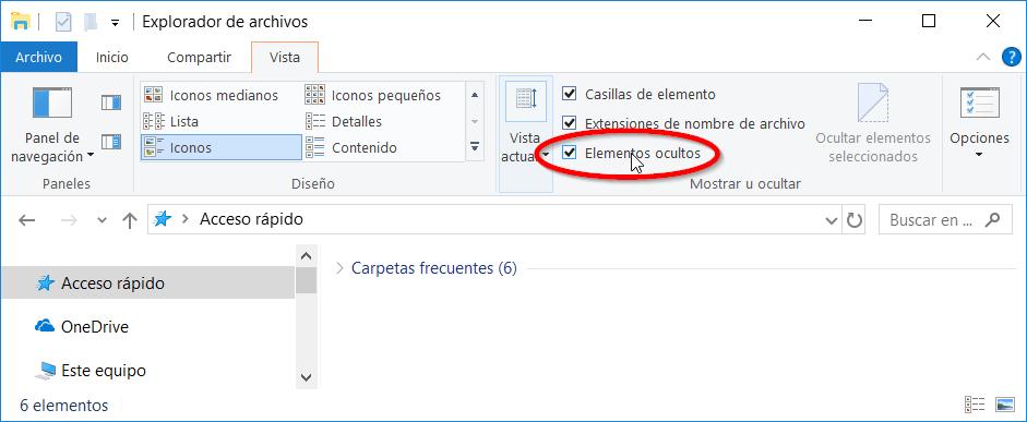 Mostrar archivos ocultos en Windows 10