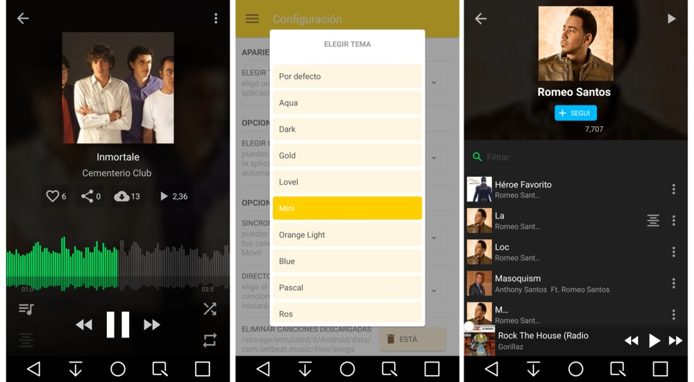 música por streaming en Android