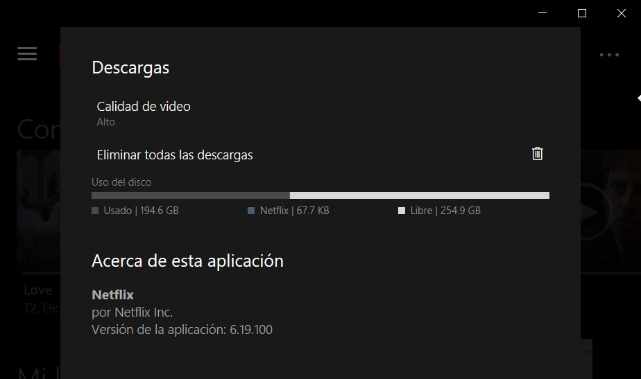 configuracion descargas netflix windows 10