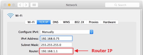 IP del router en Mac OS X