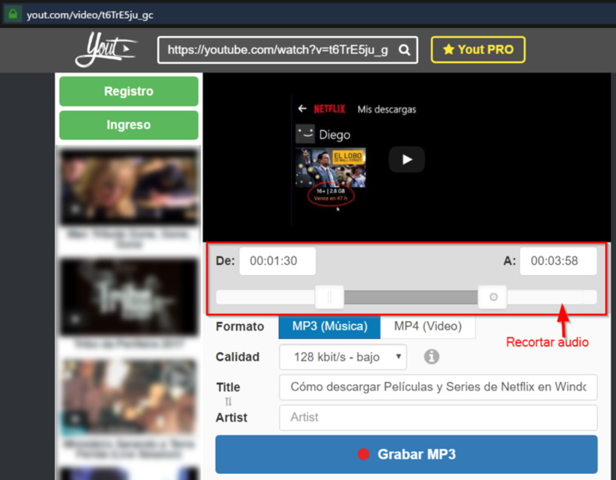Descargar audio de Youtube en MP3