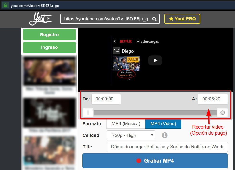 Descargar videos de Youtube en MP4