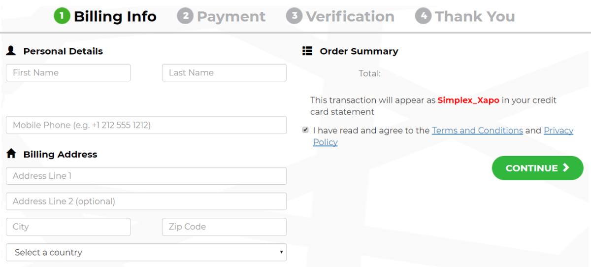 Procesador de pagos Simplex Xapo