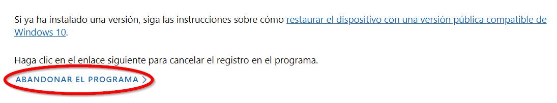 Salir de Windows Insider