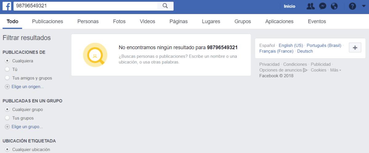 Búsqueda Facebook número o correo