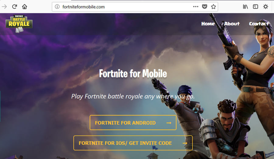 Falsa web de Fortnite Battle Royale para móviles