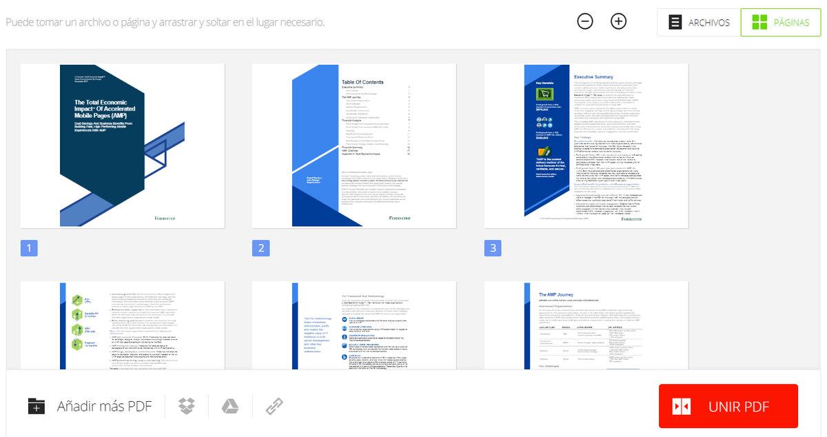 Pdfio unir PDF online