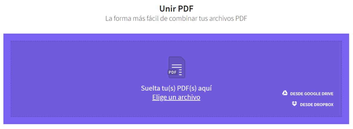 smallPDF unir PDF