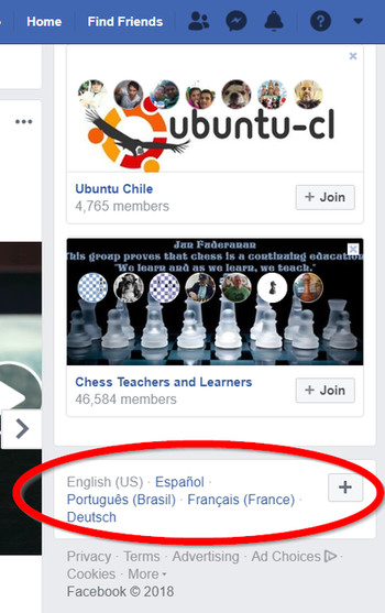 cambiar idioma de Facebook