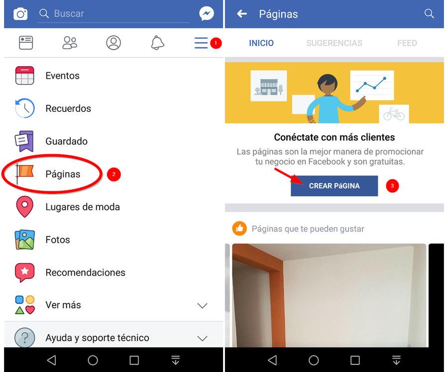 Crear una página de Facebook desde el celular