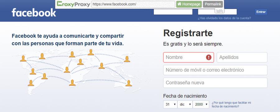 CroxyProxy desbloquear Facebook