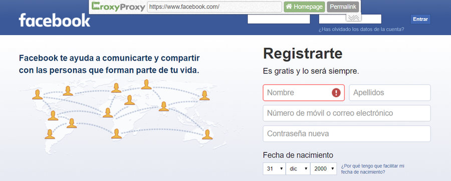 CroxyProxy desbloquear Facebook