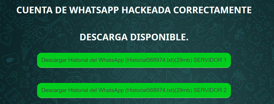 WhatsApp hackeado con Hackingtor