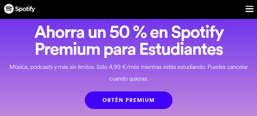 Spotify Premium para estudiantes