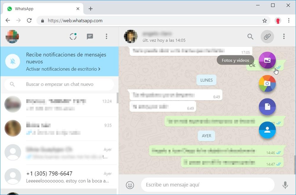 Enviar mensajes desde WhatsApp Web