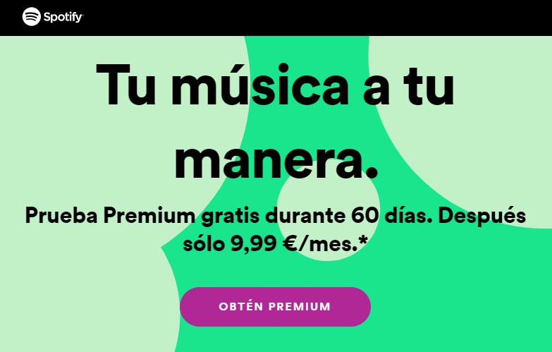 Oferta de Spotify Premium 2 meses gratis