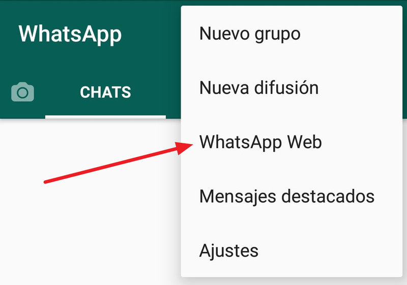 Opción WhatsApp Web