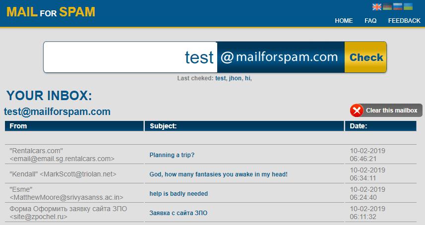 Correo para spam